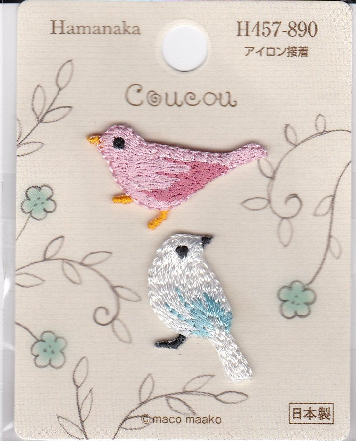 Pink Bird & White Bird Embroidered Iron-on Applique Iron-on Patch
