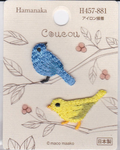 Blue Bird & Yellow Bird Embroidered Iron-on Applique Iron-on Patch