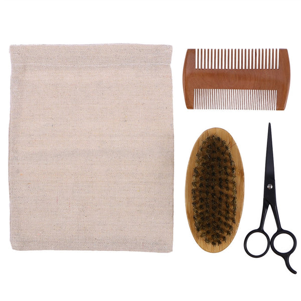 Men's Beard Grooming and Trimming Kit with bag.