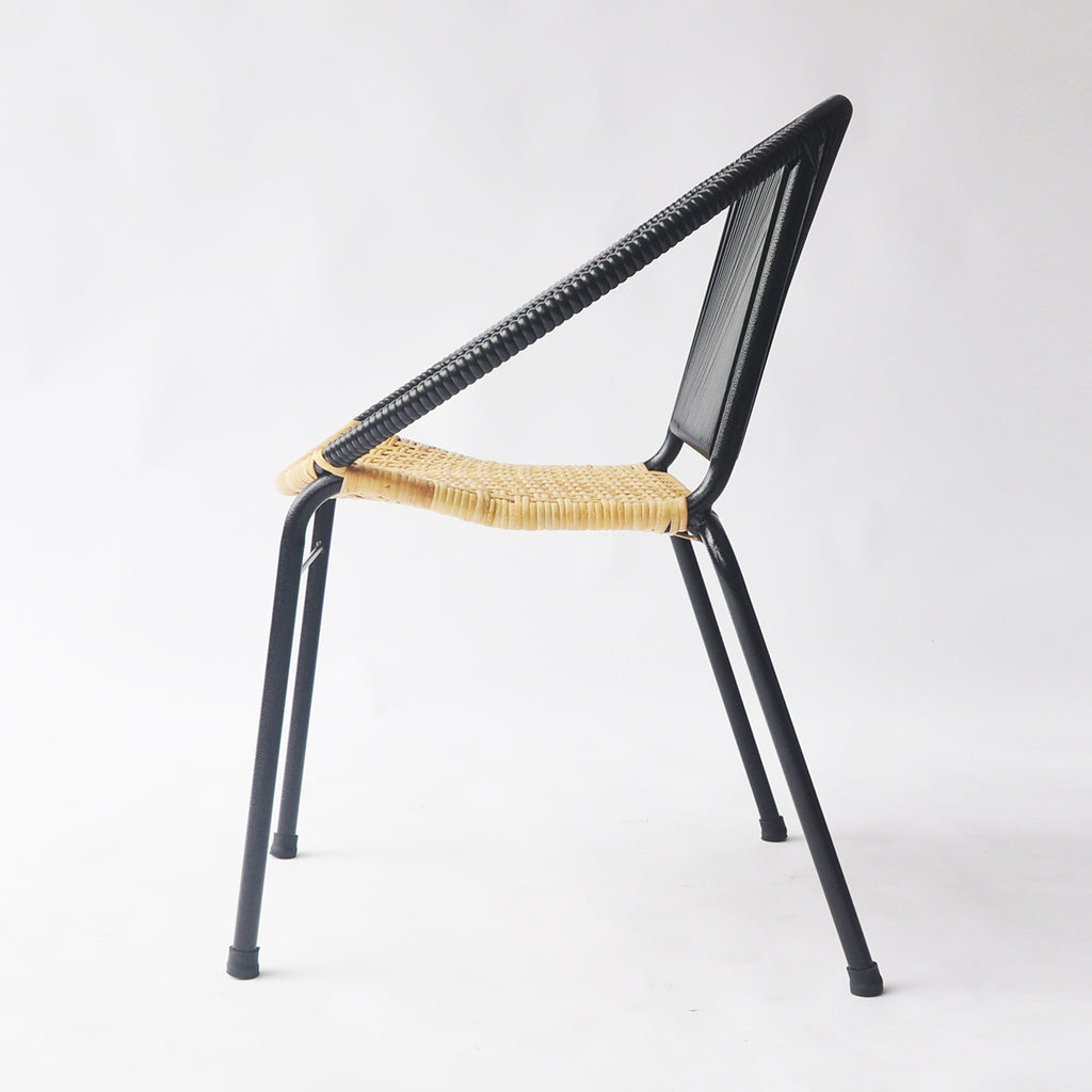 Merdeka Chair Dining (Black + Rattan Seat)