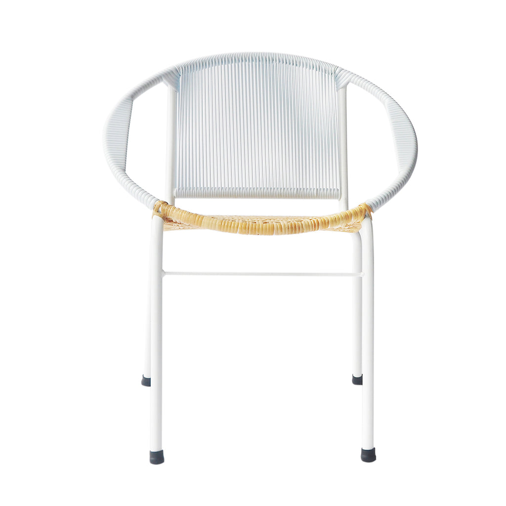 Merdeka Chair Dining (White + Rattan Seat)