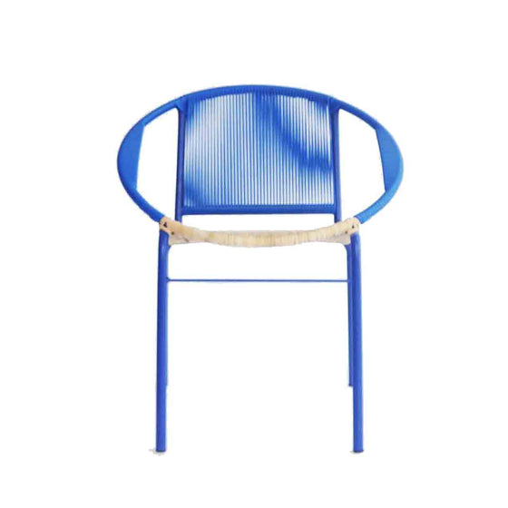 Merdeka Chair Dining (Blue + Rattan Seat)