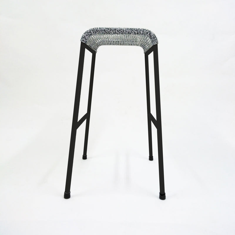 String Stool 02 (Counter Height) (Black/Greyknit)