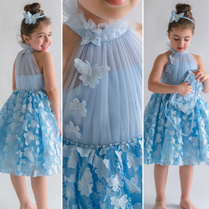BUTTERFLIES DRESS - SKY BLUE - Tianoor