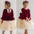 Red Velvet Champagne Tulle Dress with Long Sleeves - Tianoor