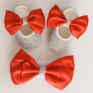 Stunning Satin Baby Shoes & Matching Large Bow Headband - Tianoor