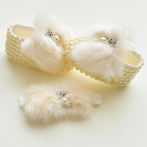 Faux Fur Pearls Baby Girl Shoes