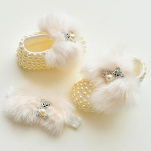 Faux Fur Pearls Baby Girl Shoes - Tianoor