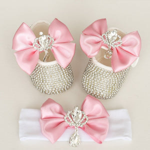 Crown Charm Satin Bow Baby Shoes - Tianoor