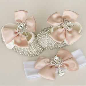 Crown Charm Satin Bow Baby Shoes