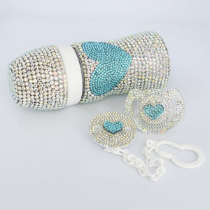 Glamorous Swarovski Feeding Bottle and Pacifier Baby Gift Set - Tianoor