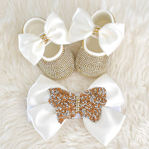 Butterfly Baby Girl Swarovski Shoes and Pacifier Gift Set - Tianoor