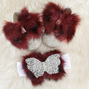 Crystal Butterfly Faux Fur Swarovski Baby Shoes - Tianoor