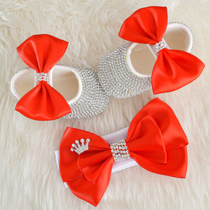 Red Swarovski Baby Shoes Gift Set - Tianoor