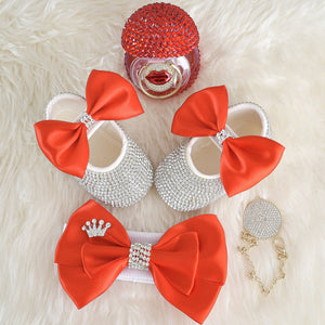 Red Lips Swarovski Baby Shoes Gift Set - Tianoor