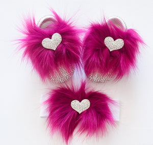 Crystal Heart Faux Fur Baby Girl Shoes - Tianoor