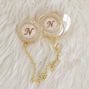 Baby Initial Crystal Glam Pacifier & Clip Set - Tianoor