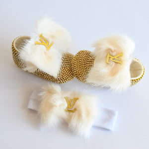 Louis Vuitton Inspired Crystal Baby Shoes - Tianoor