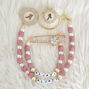 Initial Crystal Glam Pacifier & Personalised Clip Set - Tianoor