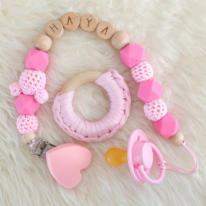 Personalised Silicone Dummy Clip Set & BIBS Pacifier