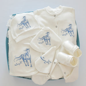 Arabian Horse Baby Boy Coming Home Embroidered Set