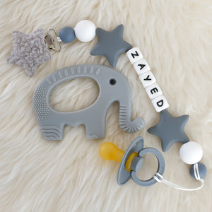 Personalised Silicone Dummy Clip Set and BIBS pacifier