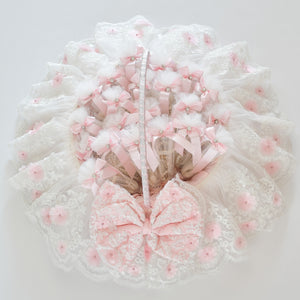 Pink Lace Baby Shower Basket Gift Set - Tianoor