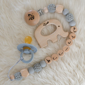Elephant Personalised Pacifier Clip & BIBS Pacifier