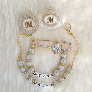 Baby Initial Crystal Glam Pacifier & Personalised Clip Set - Tianoor