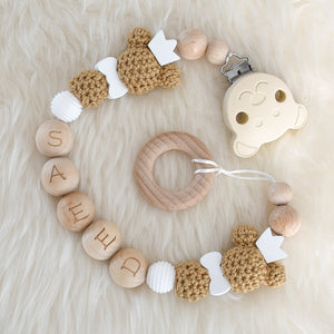 Teddy Bear Personalised Dummy Clip