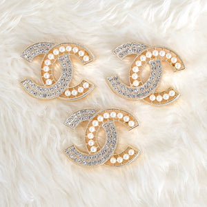 CHANEL Crystal & Faux Pearl Brooch - Large