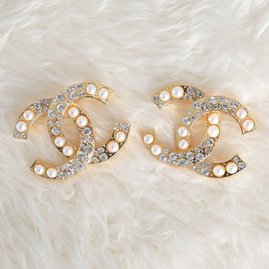CHANEL Gold Crystal Pearl Embellished Brooch