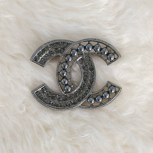CHANEL Black Beaded & Pearls Brooch