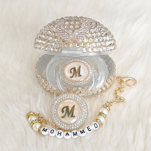 Baby Initial Crystal Glam Pacifier Personalised Gift Set