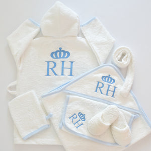Personalised Prince Baby Boy Bathrobe Set - Tianoor