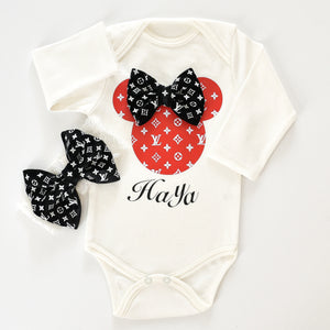 LV and Minnie Mouse inspired Onesie