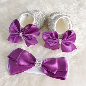 Rich Satin Bow Baby Girl Swarovski Shoes - Tianoor