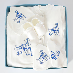 Arabian Horse Baby Boy Coming Home Embroidered Set - Tianoor