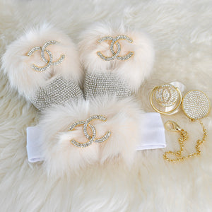 Chanel Inspired Baby Shoes Gift Set - Tianoor