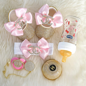 Chanel Inspired Swarovski Baby Shoes Gift Set - Tianoor