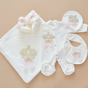 5 Piece White Velvet Newborn Baby Girl Set - Tianoor