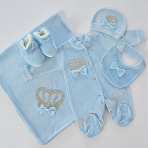 5 Piece Velvet Newborn Baby Boy Set - Tianoor
