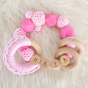Duo Personalised Silicone Dummy Clip and Rattle Toy