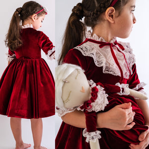 Red Velvet Holiday Dress - Tianoor