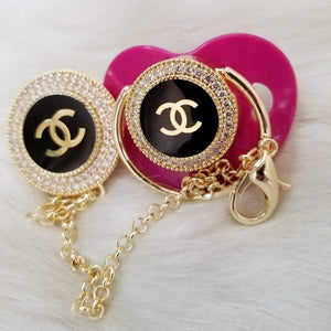 Chanel Inspired Baby Pacifier and Clip - Tianoor