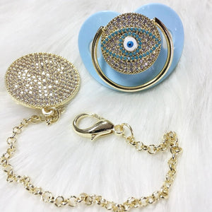 Evil Eye Protection Crystal Pacifier & Clip - Tianoor