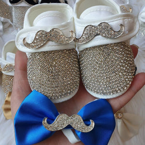 Gentleman's Mustache Baby Boy Crystal Shoes - Tianoor