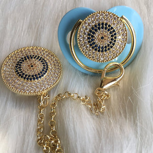 Evil Eye Protection Crystal Pacifier & Clip