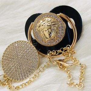 Versace Inspired Baby Pacifier and Clip - Tianoor