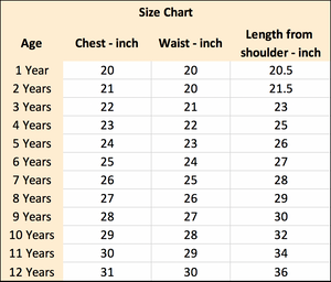 Tianoor Couture Dresses Size Chart